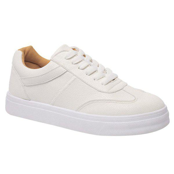 Classic Lace-Up and Solid Color Design Women's Athletic Shoes - WHITE 39