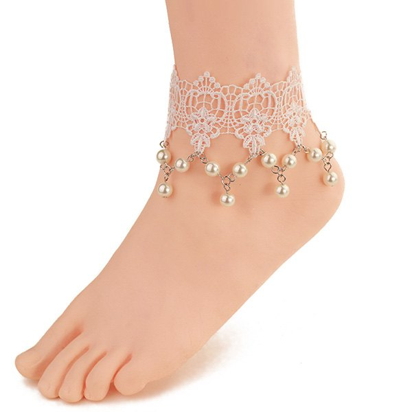 Fresh Style White Lace Faux Pearl Tassel Hollow Anklet For Women - WHITE