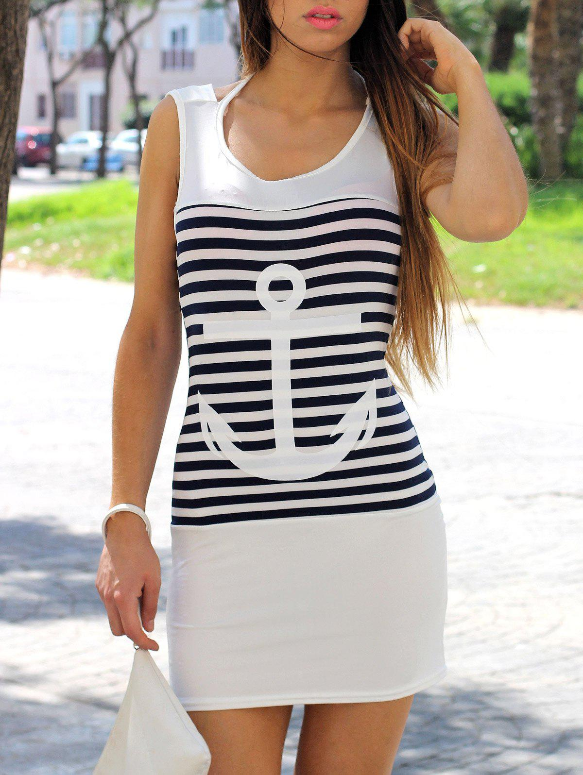 Casual Scoop Collar Sleeveless Anchor Pattern Striped Women's Dress - WHITE S