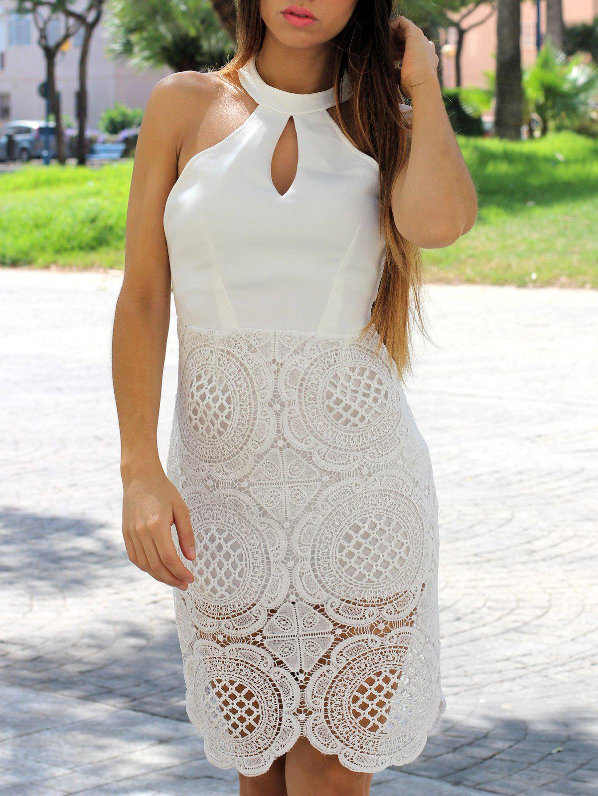 Elegant Halter Sleeveless Solid Color Hollow Out Women's Dress - M WHITE