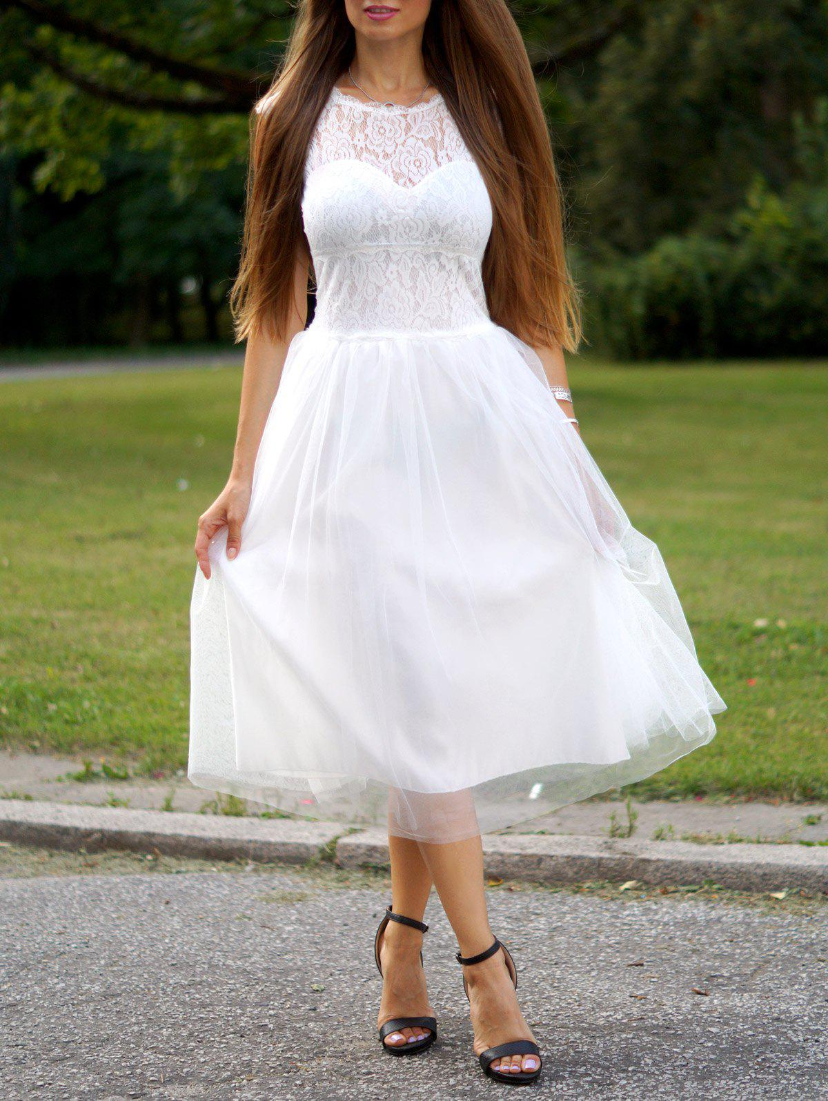 Fashionable Women's Round Neck Short Sleeve Lace Splicing A-Line Dress - WHITE M