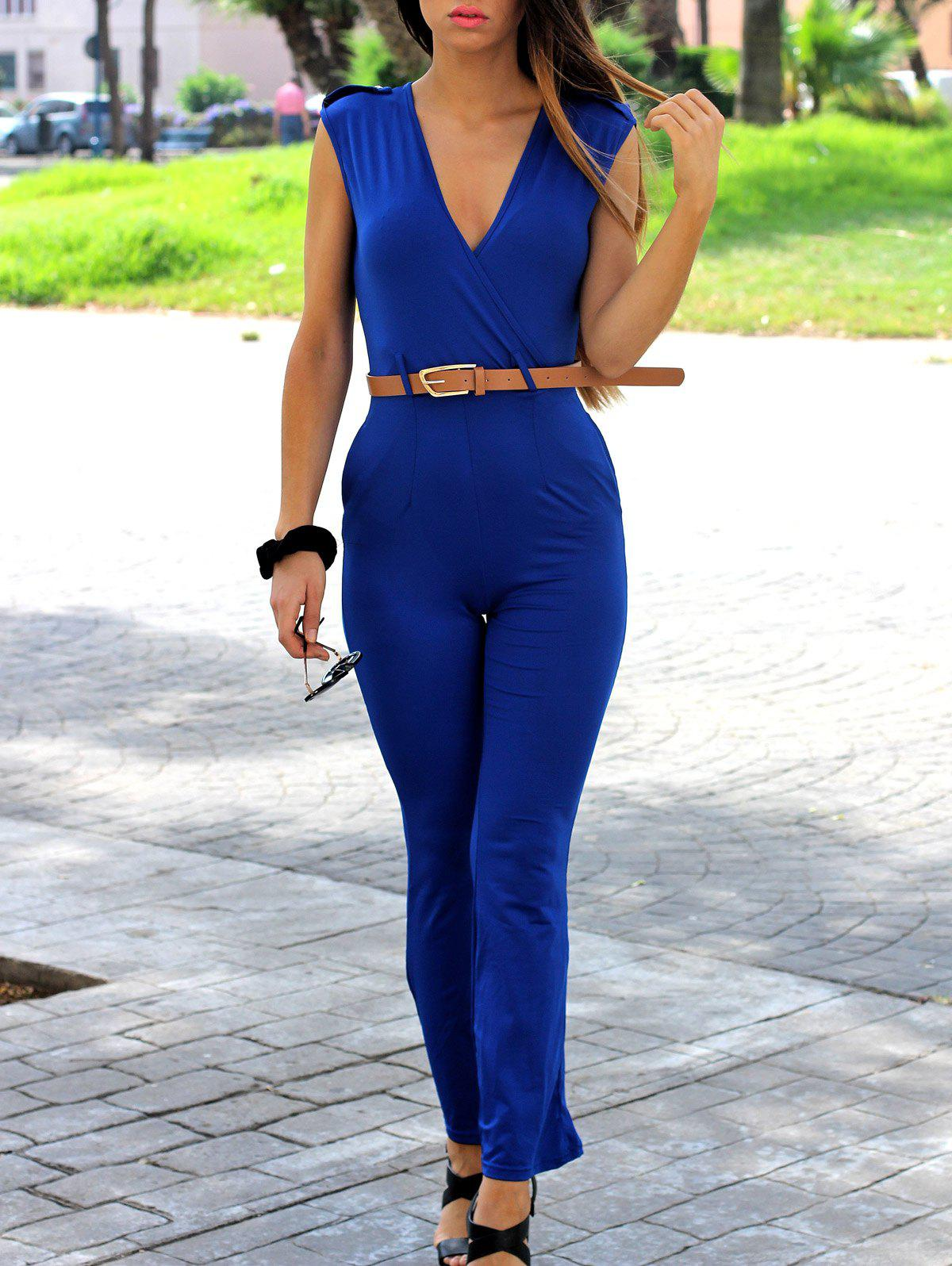 OL Style Women's V-Neck Sleeveless Solid Color Jumpsuit - BLUE S
