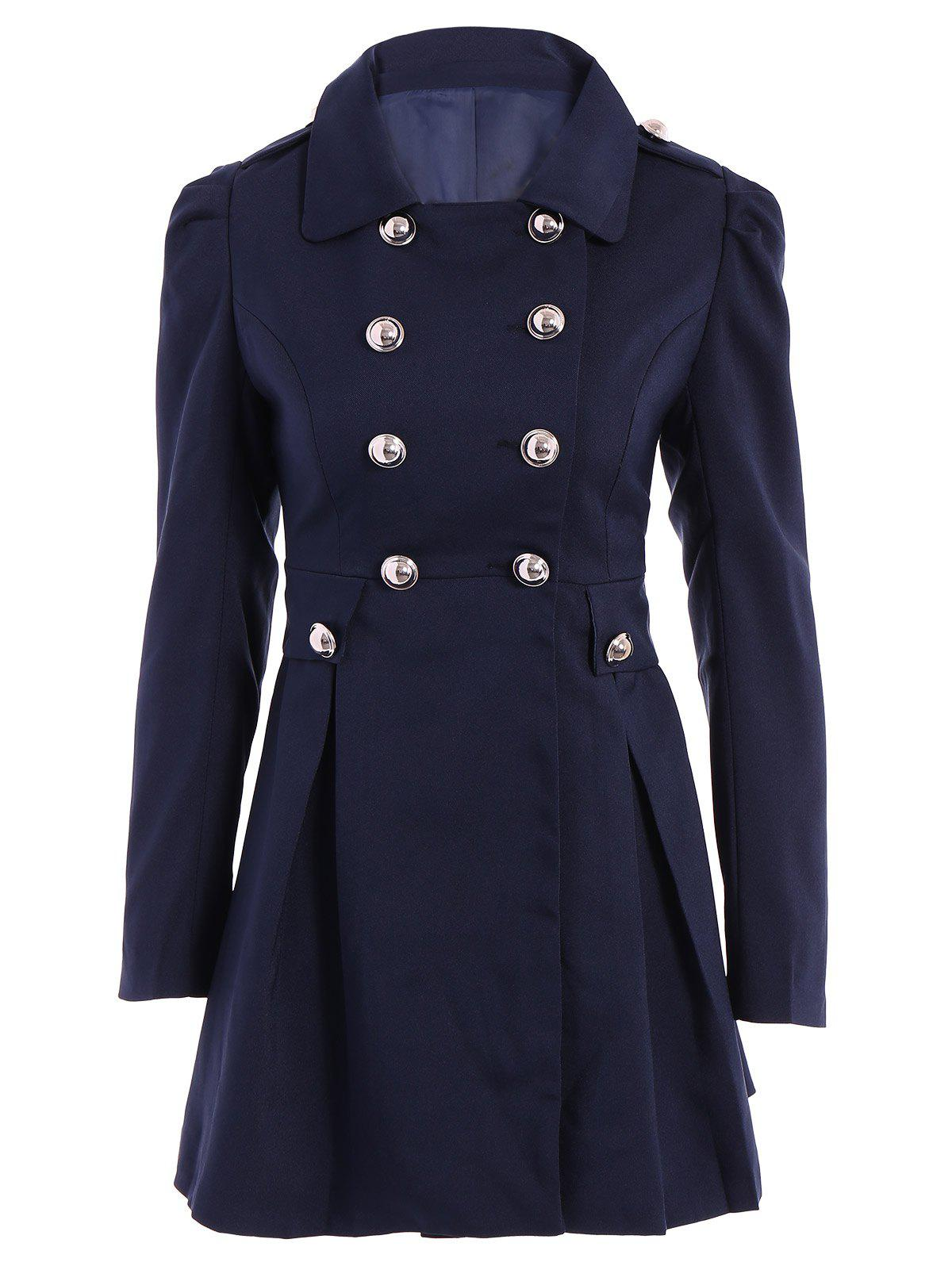 Ladylike Turn-Down Collar Solid Color Epaulet Puff Sleeves Ruffled Double-Breasted Trench Coat - PURPLISH BLUE M