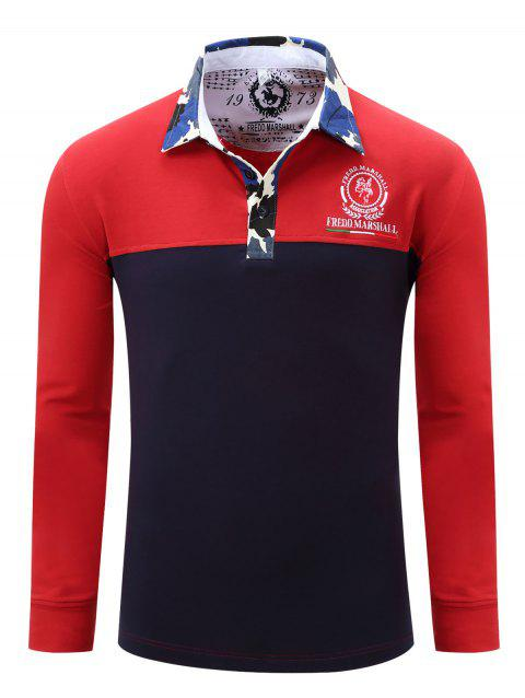 T-shirt de couleur bloc brodé Camo Splicing Polo Collar Men - Rouge M