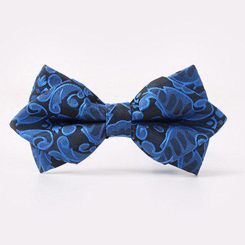 Fashion Paisley Jacquard Double-Deck Bow Tie - BLUE