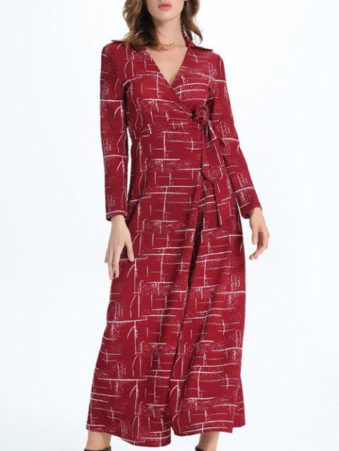 Long Sleeve Maxi Wrap Slit Evening Dress - DARK RED 2XL