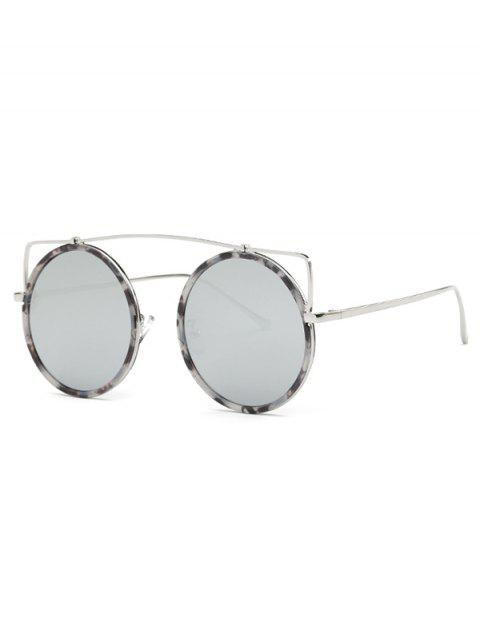 Cute Crossbar Round Marble Sunglasses - SILVER