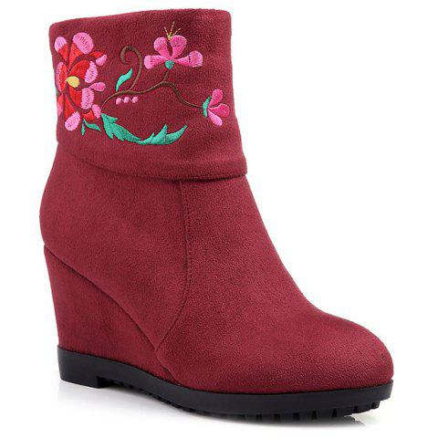 Ethnic Style Embroidery and Wedge Heel Design Women's Short Boots - WINE RED 38