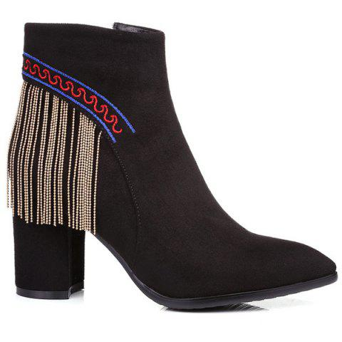 Ethnic Style Fringe and Embroidery Design Women's Ankle Boots - BLACK 38