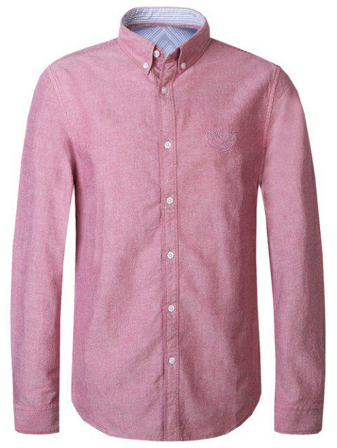 Embroidery Logo Turn-Down Collar Men's Button-Down Shirt - RED M