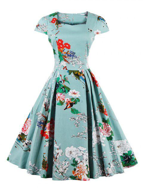 Retro Sweetheart Neck Cap Sleeve Floral Print Flare Dress - LIGHT BLUE L