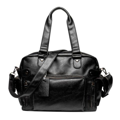 Casual Black Color and Multi Zips Design Men's Tote Bag - BLACK