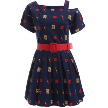 Cute Pattern Hollow Out Belted Dress