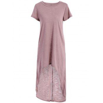 Stylish Round Neck Short Sleeve Solid Color High-Low Hem Women's T-Shirt Dress