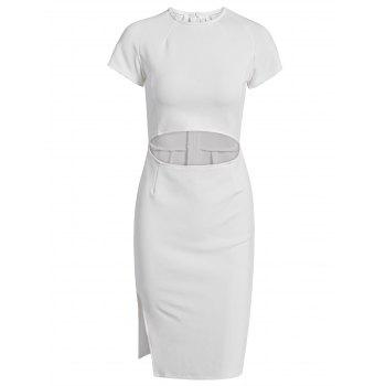 Graceful Waist Cut Out High Slit Bodycon White Midi Dress For Women