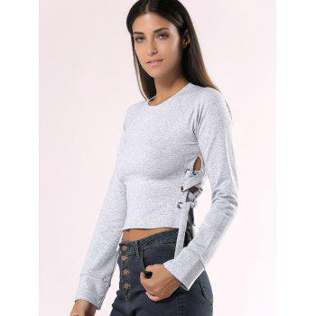 Solid Color Lace-Up manches longues Crop Top - gris S