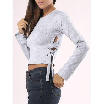 Solid Color Lace-Up Long Sleeve Crop Top