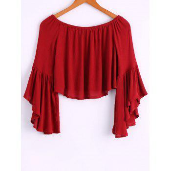 Casual off the shoulder bell bottom sleeve wine red t for Bell bottom sleeve shirt