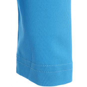 Active Elastic Long Sleeve Jewel Neck Sport T-Shirt For Women - LAKE BLUE M
