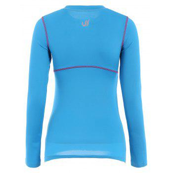 Active Elastic Long Sleeve Jewel Neck Sport T-Shirt For Women - M M