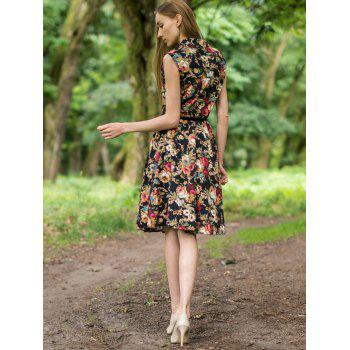 Retro Style Turn-Down Collar Sleeveless Floral Print Women's Ball Gown Dress - BLACK L