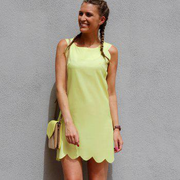 Sweet Women's Round Collar Candy Color Summer Dress - YELLOW L