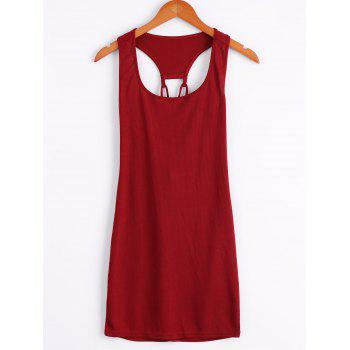 Stylish Sleeveless U Neck Lace-Up Solid Color Hollow Out Women's Mini Dress