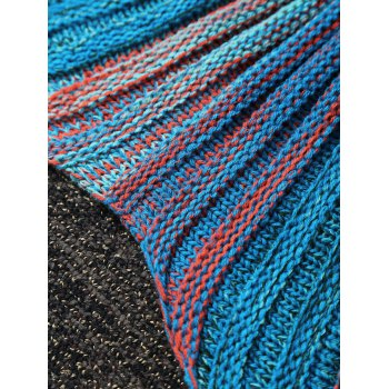 Stylish Stripe Knitted Mermaid Tail Design Blanket For Kids -  BLUE/ORANGE