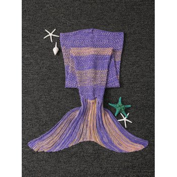 Stylish Stripe Knitted Mermaid Tail Design Blanket For Kids -  YELLOW / PURPLE