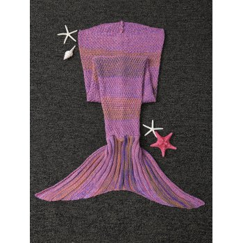 Stylish Stripe Knitted Mermaid Tail Design Blanket For Kids -  LIGHT PURPLE