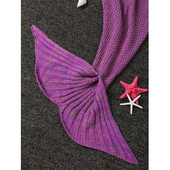 Fashion Knitted Flowers Embellished Mermaid Tail Shape Blanket For Kids -  VIOLET