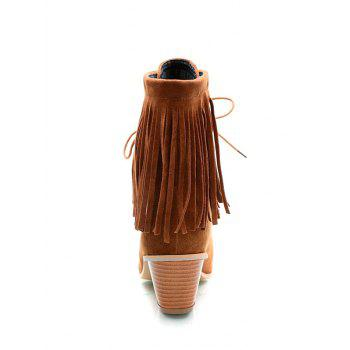 Stylish Tie Up and Fringe Design Women's Short Boots - BROWN 38