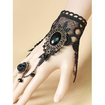 Faux Gem Lace Bracelet with Rose Ring