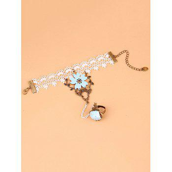 Filigree Branch Rose Lace Bracelet with Ring - COLORMIX