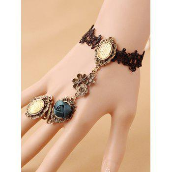 Filigree Flower Lace Bracelet with Ring