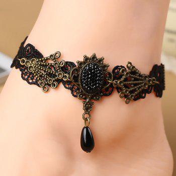 Teardrop Fake Crystal Openwork Lace Anklet - BLACK BLACK