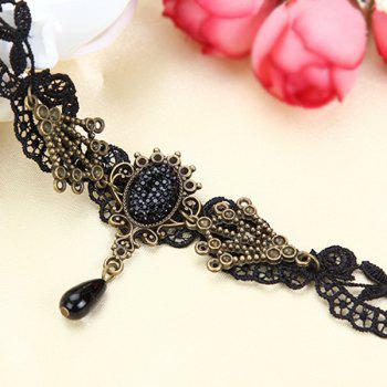 Teardrop Fake Crystal Openwork Lace Anklet -  BLACK
