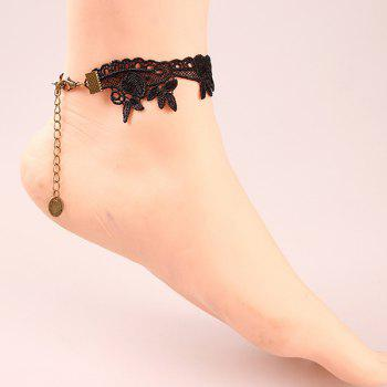Leaf Bowknot Rhinestone Crochet Lace Anklet -  BLACK