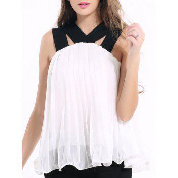 Chic Strappy Pleated Chiffon Tank Top For Women