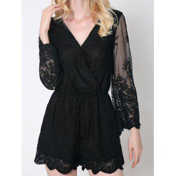 Trendy Flare Sleeve Laciness Wrap Romper For Women
