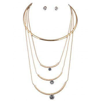 Multilayered Rhinestone Charm Necklace Set
