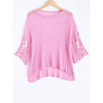 Freshing Openwork Sequin Embelllished Knitwear