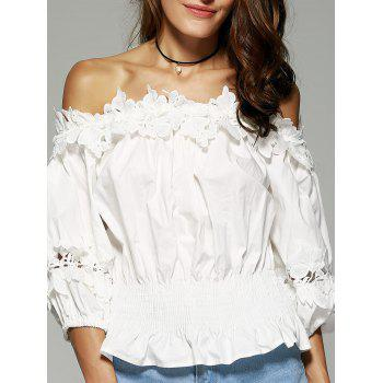 Off The Shoulder Laciness Waisted Blouse