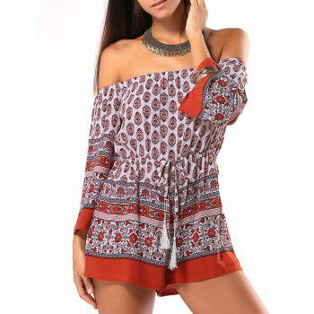 Ethnic Style Tribal Pattern Strappy Romper