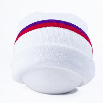 Stylish Stripe Pattern Flanging Outdoor Winter Warm Women's Knitted Beanie - WHITE