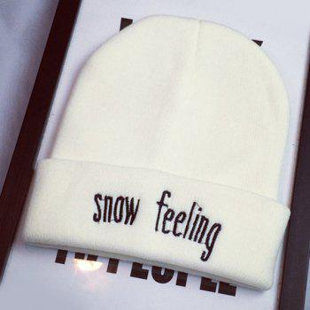 Stylish Warm Letters Embroidery Flanging Women's Elastic Knitted Beanie