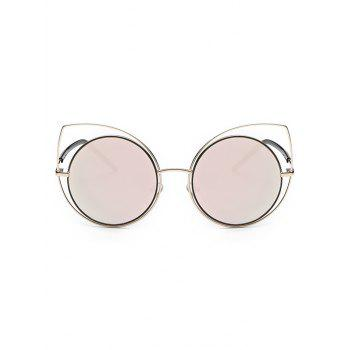 Cute Hollow Out Cat Eye Mirrored Sunglasses - PINK