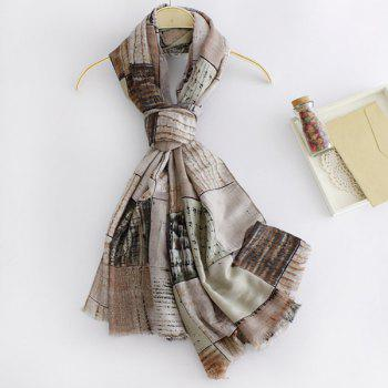 Buy Fashion Britain Style Fringed Edge Plaid Doodle Pattern Women's Scarf KHAKI