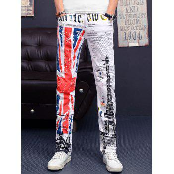 Flag and Tower Print Slim Fit Casual Pants For Men