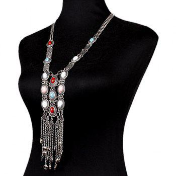 Faux Gem Oval Tassel Chains Necklace - SILVER
